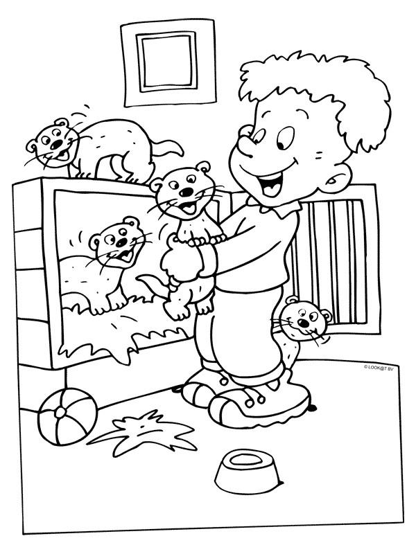 Coloriage et dessins gratuits Furets et enfant à imprimer