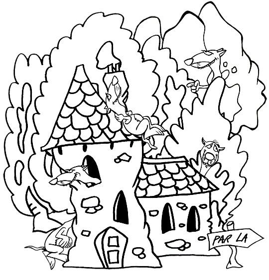 Coloriage et dessins gratuits Furets et leurs maison à imprimer