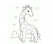 Coloriage Girafe aimable