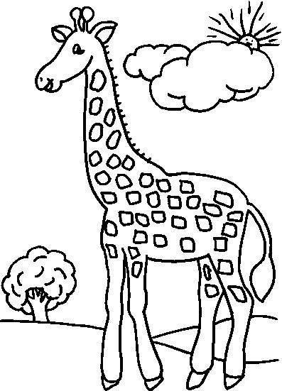 Coloriage et dessins gratuits Girafe dans la forêt à imprimer