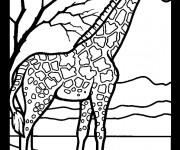 Coloriage et dessins gratuit Girafe et nature à imprimer