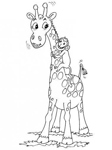 Coloriage et dessins gratuits Girafe et singe à imprimer