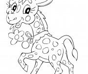 Coloriage et dessins gratuit Girafe mignonne portant une fleur à imprimer