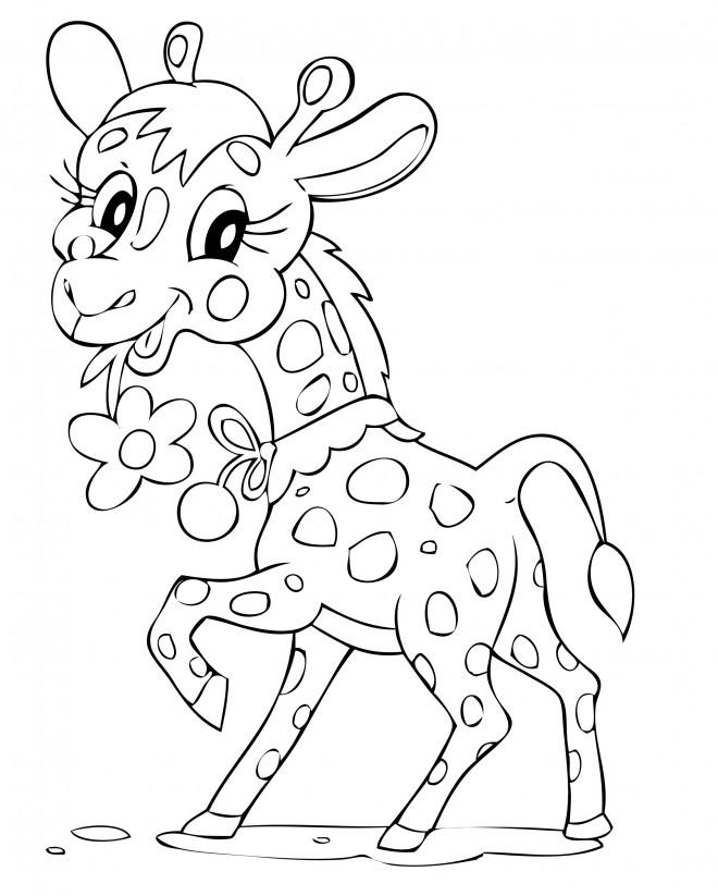 Coloriage et dessins gratuits Girafe mignonne portant une fleur à imprimer