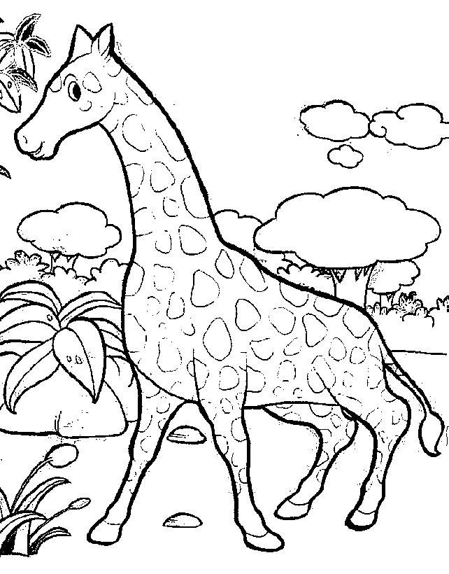 Coloriage et dessins gratuits Girafe s'amuse dans la nature à imprimer