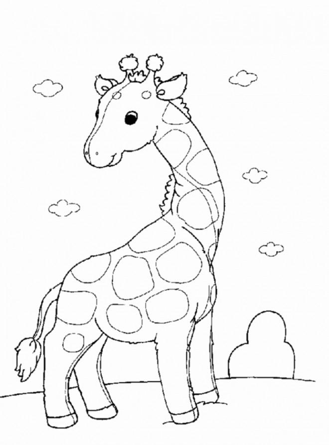 Coloriage et dessins gratuits Petite Girafe debout à imprimer