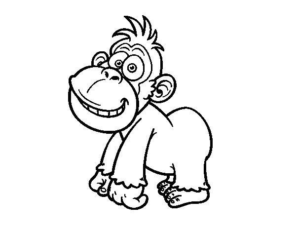 Coloriage et dessins gratuits Drôle de petit Gorille à imprimer