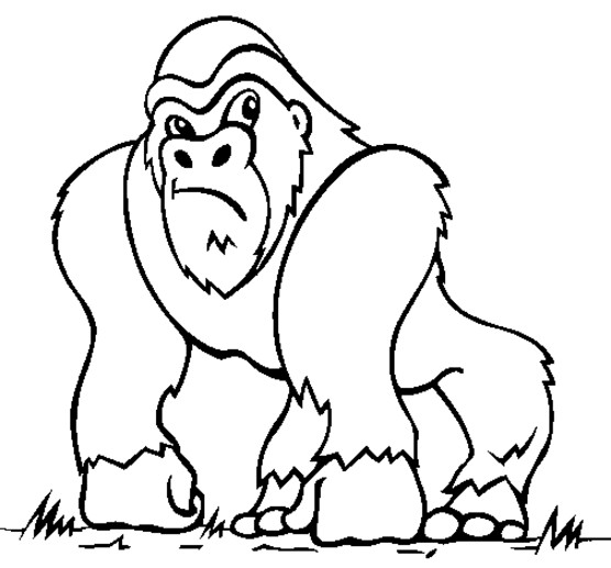 Coloriage et dessins gratuits Gorille dessin animé à imprimer