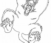 Coloriage et dessins gratuit Gorille en attaquant à imprimer