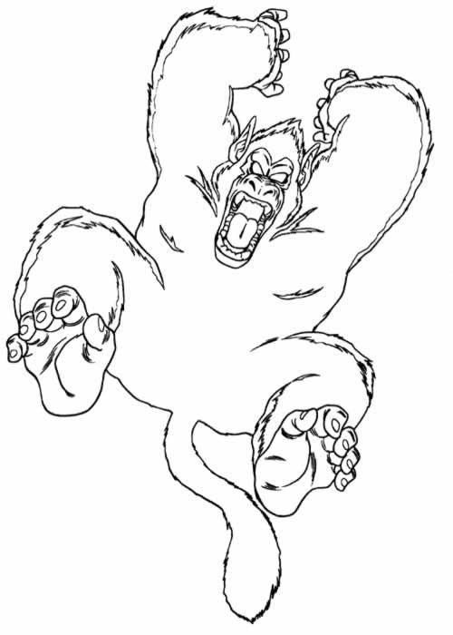 Coloriage et dessins gratuits Gorille en attaquant à imprimer