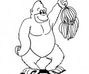 Coloriage Gorille et bananes