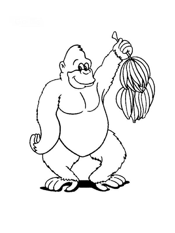 Coloriage et dessins gratuits Gorille et bananes à imprimer