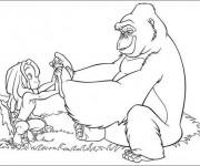 Coloriage Gorille et enfant Disney