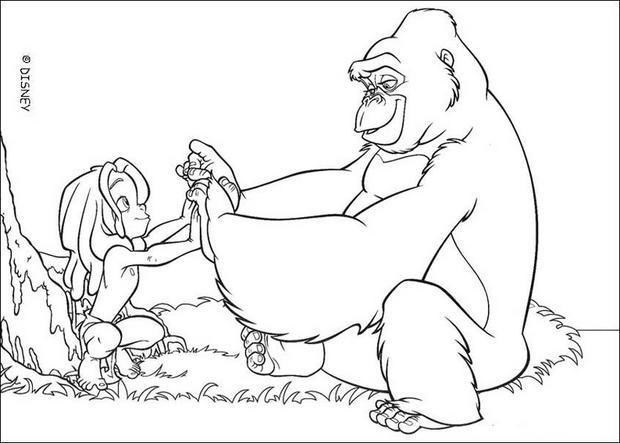 Coloriage et dessins gratuits Gorille et enfant Disney à imprimer