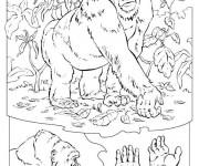 Coloriage Gorille et plantes