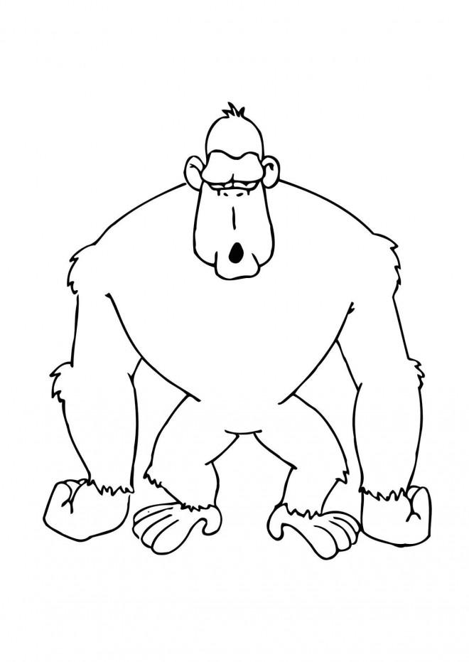 Coloriage et dessins gratuits Gorille humoristique à imprimer
