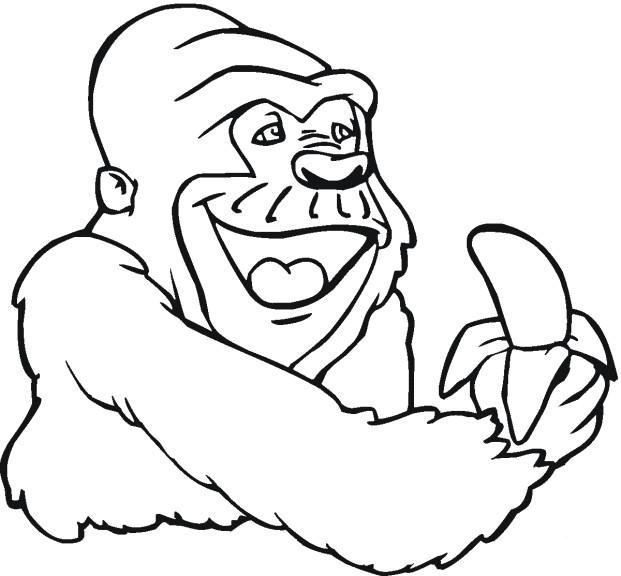 Coloriage et dessins gratuits Gorille mange de banane à imprimer
