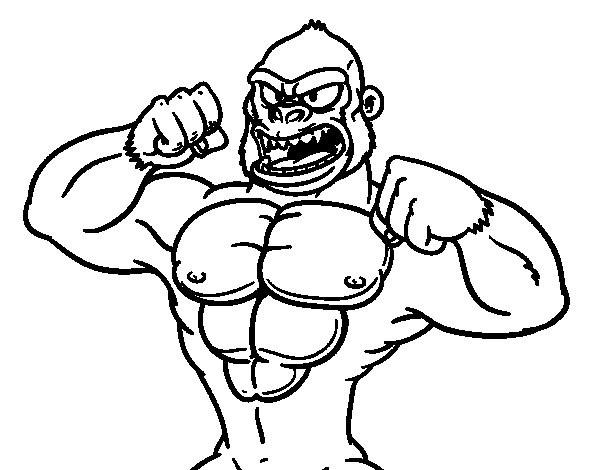 Coloriage et dessins gratuits Gorille musclé à imprimer