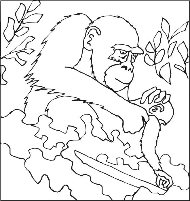 Coloriage et dessins gratuits Gorille soigne son petit à imprimer