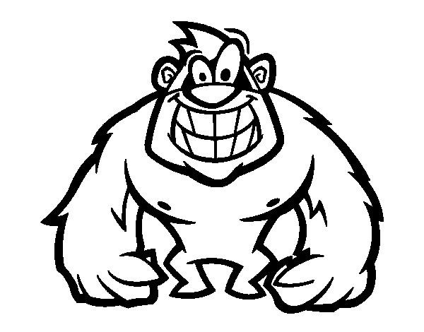 Coloriage et dessins gratuits Gorille souriant à imprimer