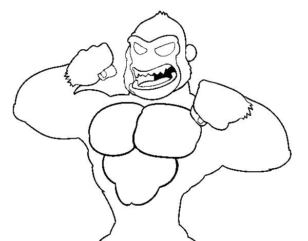 Coloriage et dessins gratuits Gorille trop fort à imprimer