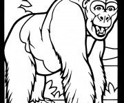 Coloriage Gorille vecteur