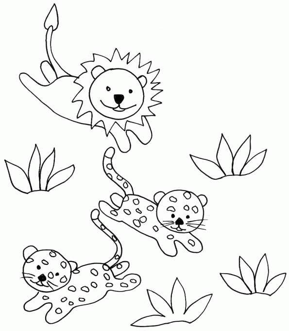 Coloriage et dessins gratuits Guépards et lion à imprimer