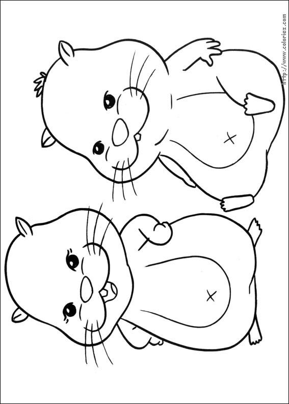 Coloriage et dessins gratuits Deux Hamsters s'amusent à imprimer