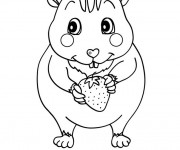 Coloriage et dessins gratuit Hamster et Fraise à imprimer