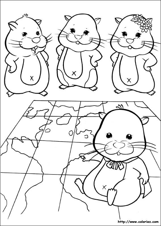 Coloriage et dessins gratuits Hamsters et la carte du monde à imprimer