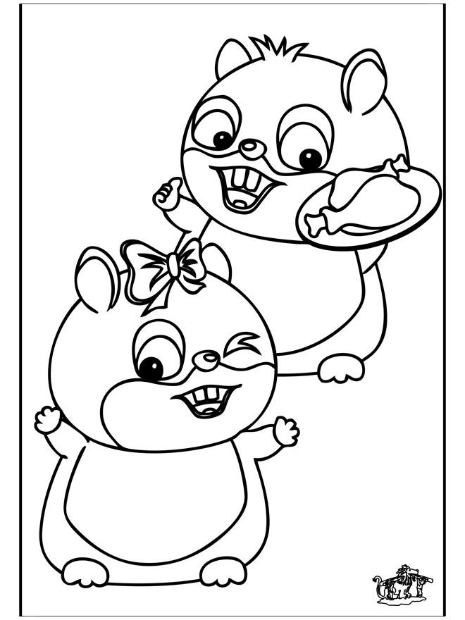 Coloriage hamsters et leurs repas dessin gratuit imprimer - Hamster gratuit ...