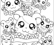 Coloriage et dessins gratuit Hamsters trop mignons à imprimer