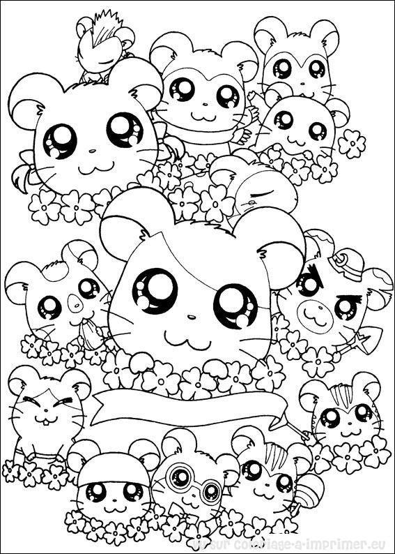 Coloriage et dessins gratuits Hamsters trop mignons à imprimer