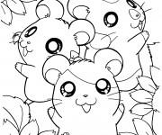 Coloriage et dessins gratuit Hamtaro avec ses amis à imprimer