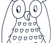 Coloriage et dessins gratuit Hibou en bleu à imprimer