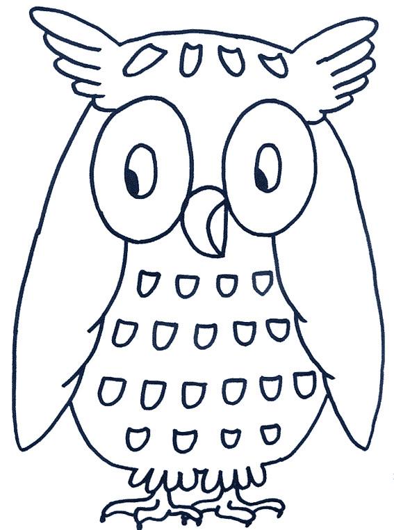 Coloriage et dessins gratuits Hibou en bleu à imprimer