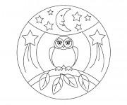 Coloriage et dessins gratuit Hibou et la nuit à imprimer