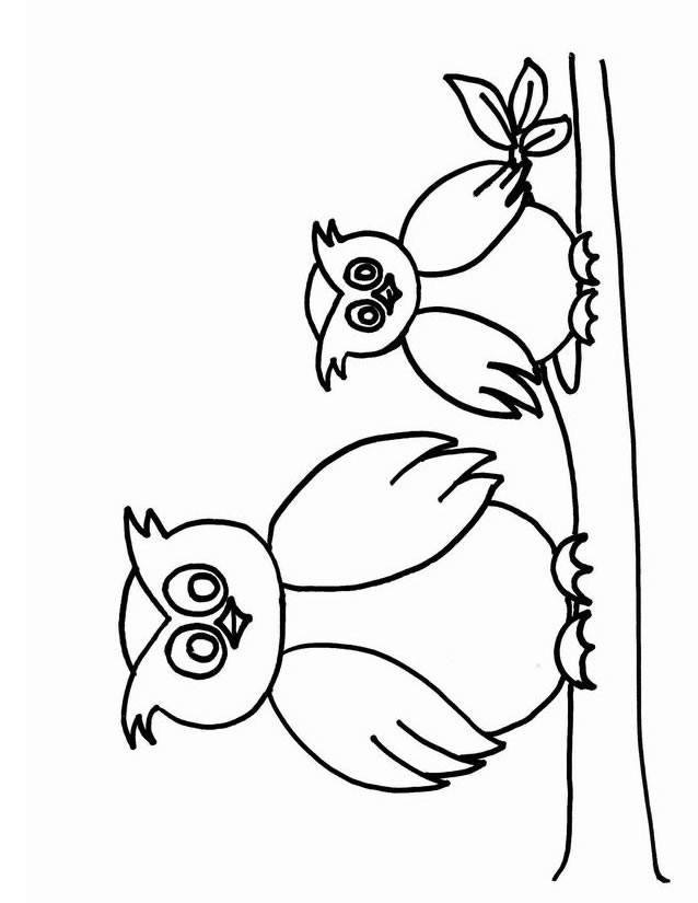 Coloriage et dessins gratuits Hibou et son petit sur l'arbre à imprimer