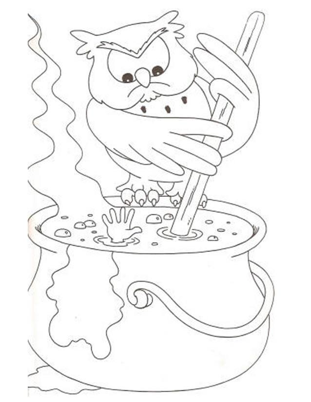 Coloriage et dessins gratuits Hibou magicien à imprimer