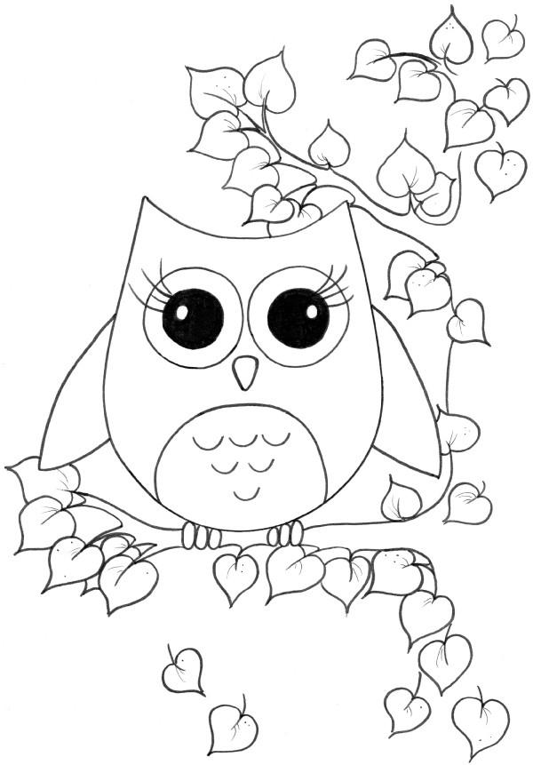 Coloriage hibou mignon dans la nature dessin gratuit imprimer - Coloriage de hibou ...