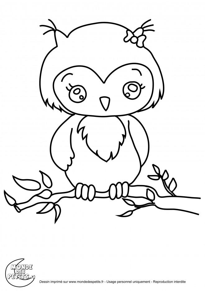 Coloriage et dessins gratuits Hibou mignonne à imprimer