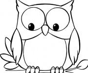 Coloriage et dessins gratuit Hibou regarde en dessous à imprimer