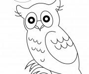 Coloriage et dessins gratuit Hibou sous la lune à imprimer