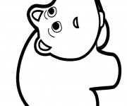 Coloriage Hippopotame au crayon