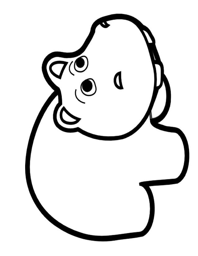Coloriage Bebe Hippopotame.Coloriage Animaux Mignon Bebe Hippopotame Dessin Dessiner Un