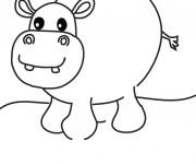 Coloriage Hippopotame avec sa grosse tête