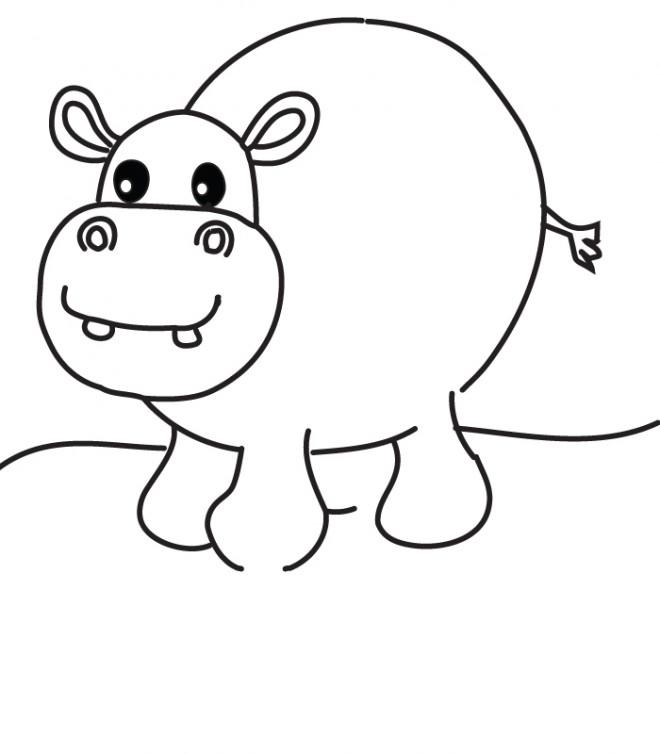Coloriage et dessins gratuits Hippopotame avec sa grosse tête à imprimer