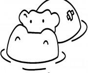 Coloriage Hippopotame blessé