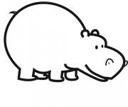 Coloriage et dessins gratuit Hippopotame couleur à imprimer