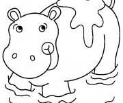 Coloriage et dessins gratuit Hippopotame dans l'eau à imprimer